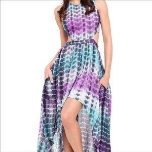 Lover + Friends Tye Dye Foxy Cutout High Low Dress